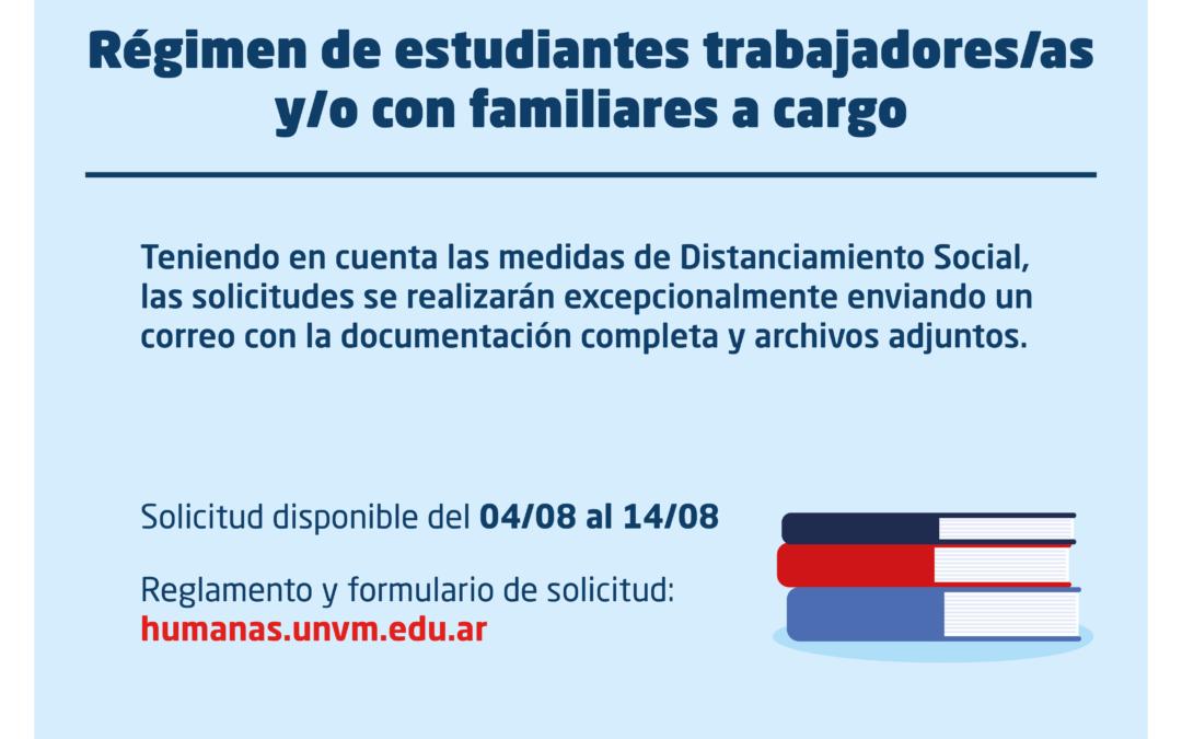 Pasos para tramitar la solicitud de Régimen de Estudiantes Trabajadores/as y/o con Familiares a Cargo
