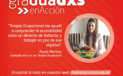 """Paula Martino: """"Terapia Ocupacional me ayudó a comprender la Accesibilidad como un derecho de todos/as"""""""