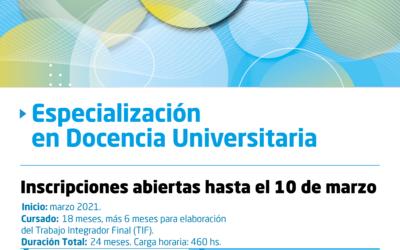 Inscripciones abiertas para el Posgrado de Especialización en Docencia Universitaria