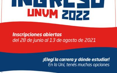 Ingreso 2022: inscripciones abiertas en la UNVM