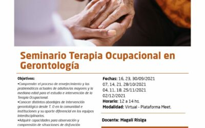 """Se encuentran abiertas las inscripciones para el Seminario """"Terapia Ocupacional en Gerontología"""""""